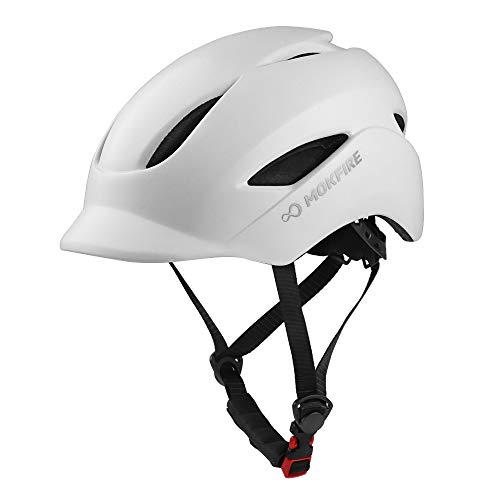 MOKFIRE Adult Bike Helmet - Light, Cool & Sleek Cycling Helmet CPSC & CE Certified with Rear Light for Urban Commuter Adjustable Size (22.44-23.62 Inches) for Adult Men/Women (White)