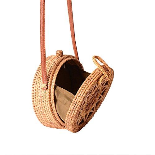 Girl Straw Bag Handmade Women Shoulder Rattan D Bag Beach A Braided Gaeruite Woven Straw Handbag Bag Summer bag Round For Picnic nwTI7x