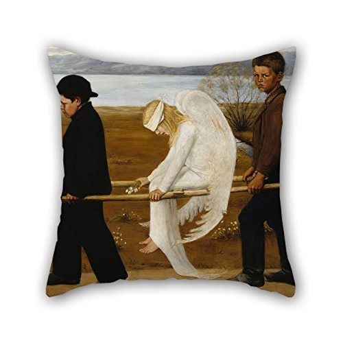 [20 X 20 Inch / 50 By 50 Cm Oil Painting Hugo Simberg - The Wounded Angel Pillow Covers ,twice Sides Ornament And Gift To Dining Room,couch,teens] (Bull Rider Costume Toddler)