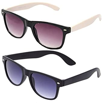 71f6514cd85 Sheomy Unisex Combo Pack of White Side Wayfarer Sunglasses and Black Matte Wayfarer  Sunglasses for Men and Women with 2 boxes Best Online Gifts  Amazon.in  ...