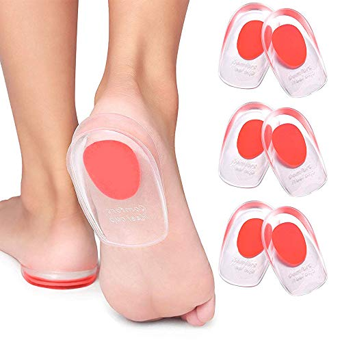 3 Pair Gel Heel Cups Plantar Fasciitis Inserts - Silicone Gel Heel Pads for Heel Pain, Bone Spur & Achilles Pain, Gel Heel Cushions and Cups, Pad & Shock Absorbing Support(Red Large)