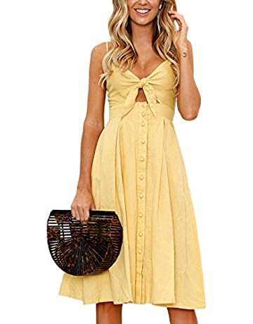ee15c418662015 ECOWISH Womens Dresses Summer Tie Front V-Neck Spaghetti Strap Button Down  A-Line