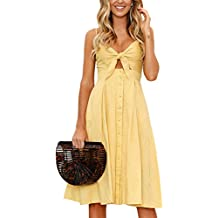 ECOWISH Womens Dress Summer Tie Front V-Neck Spaghetti Strap Button Down A-Line Backless Swing Midi Dress