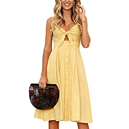 ECOWISH Women Dresses Summer Tie Front V-Neck Spaghetti Strap Button Down A-Line Backless Swing Midi
