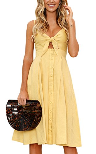 ECOWISH Womens Dress Summer Tie Front V-Neck Spaghetti Strap Button Down A-Line Backless Swing Midi Dress Yellow -