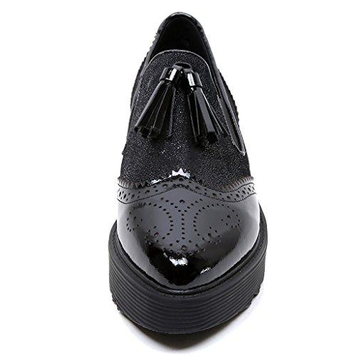 RoseG Femmes Cuir Lacets Brogue Classiques Chaussures