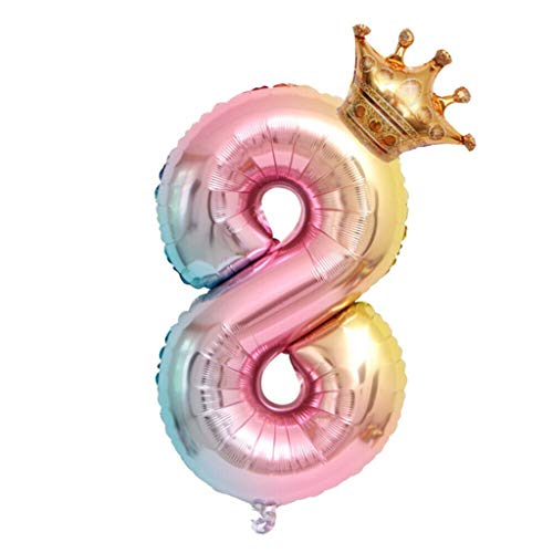 Fan-Ling Crown Number Foil Balloons Number Ballon Happy Birthday Party Decoration 32 - Bathroom Mirrors Amazing