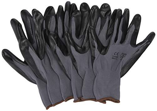 G & F 15196L Seamless Nylon Knit Nitrile Coated Work Gloves, Garden Gloves, Black, Large, 6 Pair Pack (Best Gloves For Working On Cars)