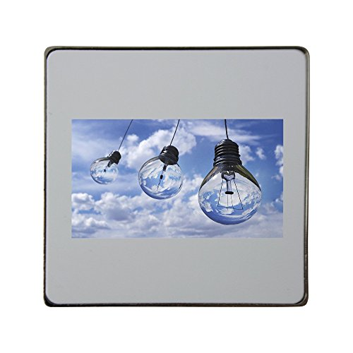 Metal square fridge magnet with Light Bulb, Light, Halogen, Bulb, Lamp