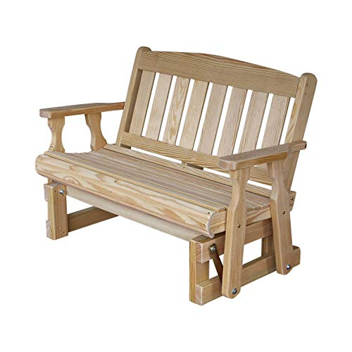 CAF Amish Heavy Duty 800 Lb Mission Pressure Treated Porch Glider (5 Foot, Unfinished) ()
