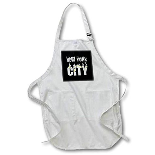 3dRose Alexis Design - American Cities - Stylish text New York City, landmarks, shining windows on black - Medium Length Apron with Pouch Pockets 22w x 24l (apr_286454_2)