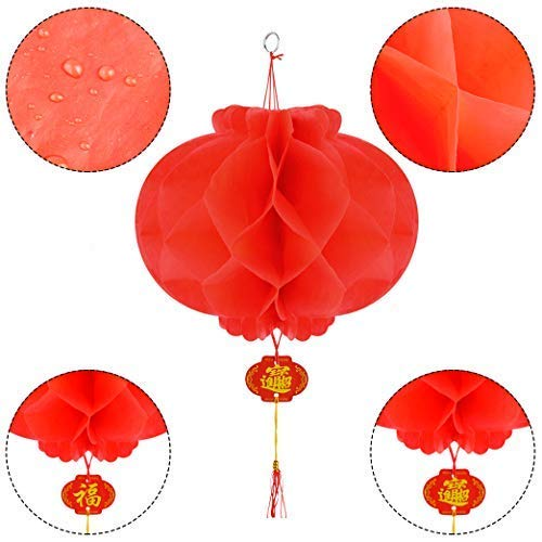 40pcs Red Paper Lanterns Chinese New Year Red Lanterns Festival Decorations for Spring Festival,Wedding,New Year 10in Diameter by Lee-buty