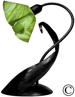 product image for Jezebel Radiance Lazy Daisy Lamp. Hardware: Black. Glass: Grass Green, Lily Style