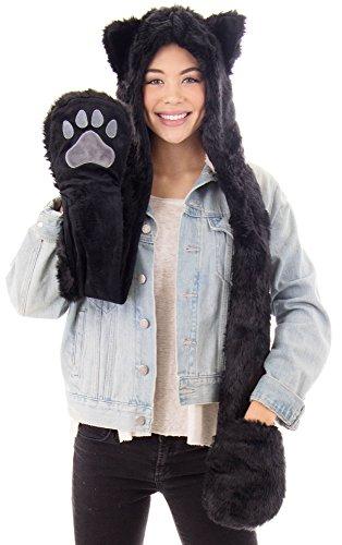 (Animal Furry Hood Hat Scarf Mitten 3-in-1 Multifunction Hoodie Glove Scarf,Black)