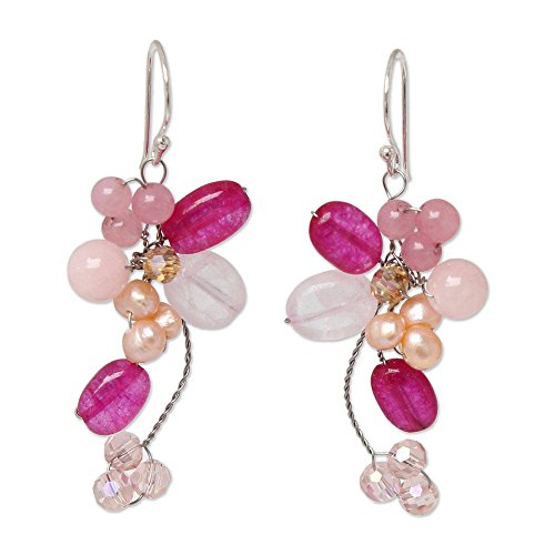 - NOVICA Dyed Freshwater Cultured Pearl Cluster Dangle Earrings with Rose Quartz, Radiant Bouquet'