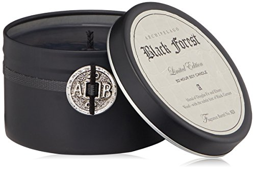 Archipelago Botanicals Black Forest Candle Tin - A dramatic matte-black container, adorned with our signature coin creates an affordable way to enjoy this fan-favorite fragrance. Net Weight: 5.7 oz / 197 gm - living-room-decor, living-room, candles - 41dRshPo%2BCL -