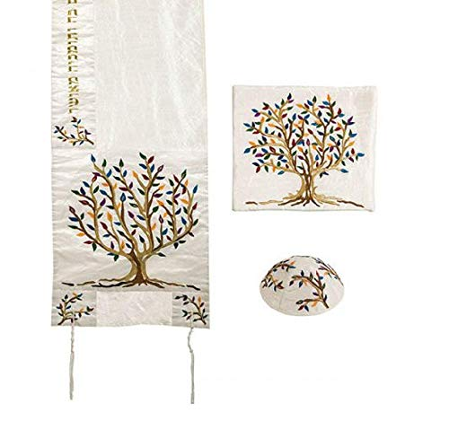 (Yair Emanuel Multicolor Tree of Life Design Embroidered Raw Silk White Tallit Set)