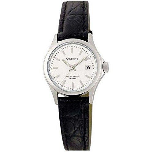 Orient Women's Black Leather Band Steel Case Quartz White Dial Watch CSZ2F004W