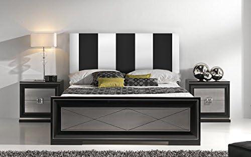 SUENOSZZZ - Cabecero Ohio Líneas Verticales (Cama 90) 100x57 cms. Color Blanco y Negro