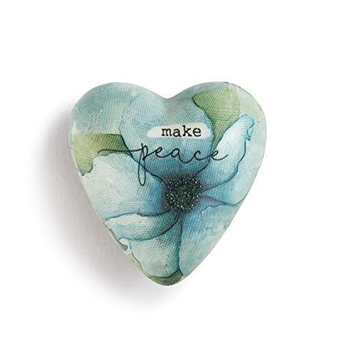 DEMDACO Make Peace Floral Blue 2 x 2 Resin Stone Collectible Art Heart Token Figurine