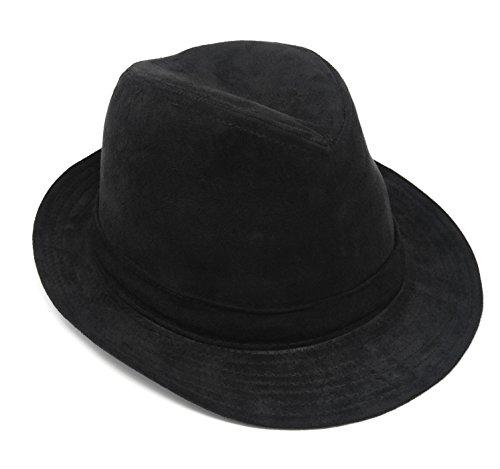 (Gangster Mob Mens Rude Boy Wide Brim Fedora, Crushable Wool Felt Outback Hat)