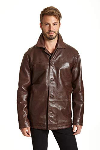 (Excelled Men's Big and Tall Four-Button Lambskin Leather Car Coat, Brown, 4XLT)