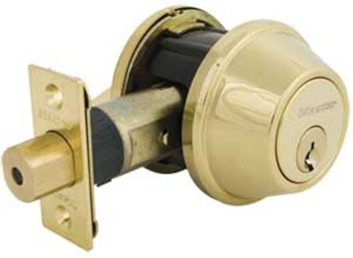 Master Lock DSNRN0603PBOX Nightwatch Deadbolt with Bump Stop Cylinder, Bright Brass