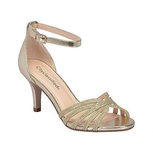 Great Gatsby Women's Shoes (City Classified Reason Women's Strappy Open Toe Rhinestone Low Heel, mve Shoes pier lt Gold Size)