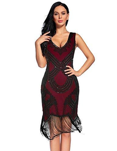 Women's 1920s Gatsby Dress V Neck Sequin Bead Cocktail Dress (XXL,BurgundyBlack)]()