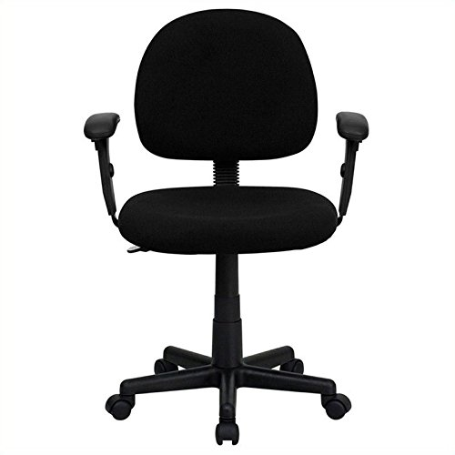 Flash Furniture Mid-Back Black Fabric Swivel Task Chair with Adjustable Arms