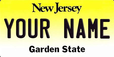 BNS Personalized Bicycle/Toy Car/Wagon / Golf Cart License Plate Tag (New Jersey)