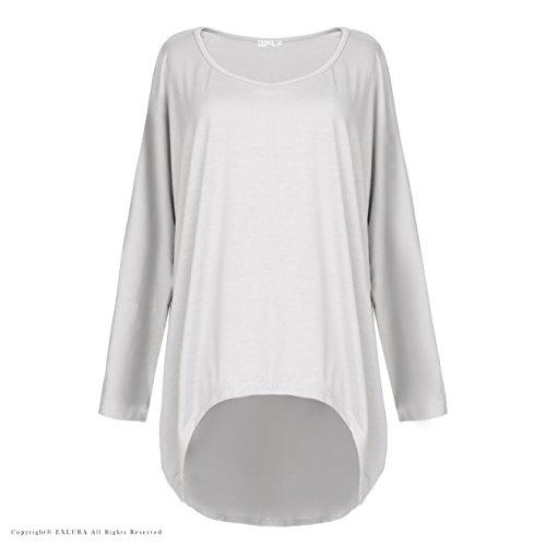 EXLURA Blusa Suelta de Talla Grande Camiseta con Mangas Largas de Murciélago Gris