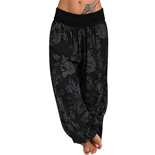 JOFOW Pants Womens Harem Boho Flowers Floral Print Bloomers Loose Casual Long Wide Leg Pajamas High Waist Soft Yoga Trousers - Classic Bed Set Womens Pajama Head