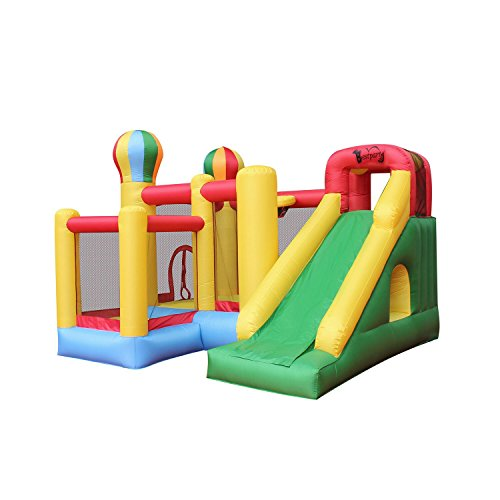BESTPARTY Inflatable Bouncy Slide Bounce House 6 in 1 with Slide Basket Hoop Climbing Wall Tunnel Blower