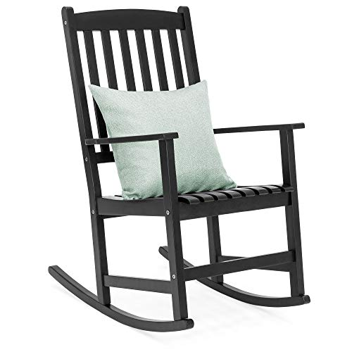 Best Choice Products Indoor Outdoor Traditional Wooden Rocking Chair Furniture w/Slatted Seat and Backrest for Patio, Porch, Living Room, Home Decoration - ()