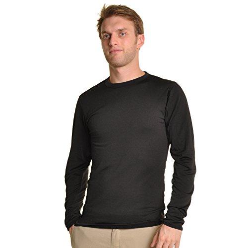 Swan Men's Fleece-Line, Crew Neck, Long Sleeves Thermal Top, #8915Black_M Classic Swan Neck