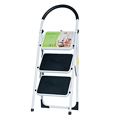 Good Life EN131 Folding 3 Step Ladder Home Depot Steel Step Ladders Lightweight 300 lb Capacity with Hand Grip Anti-Slip and Wide Pedal HMI093