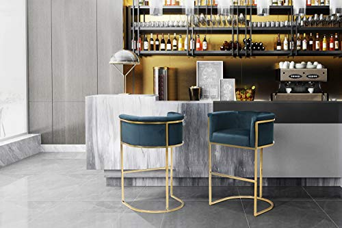 Iconic Home Finley Bar Stool Chair Velvet Upholstered Rolled Shelter Arm Design Half-Moon Goldtone Solid Metal U-Shaped Base, Modern Contemporary, Teal (Stools Bar Green Emerald)