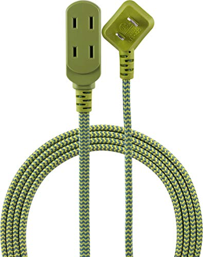 (Cordinate Designer 3-Outlet Extension Cord, 2 Prong Power Strip, Extra Long 8 Ft Cable with Flat Plug, Braided Fabric Cord, Slide-to-Close Safety Outlets, Green,)