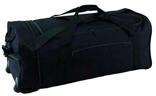 Reisetasche Trolley faltbar 2 Leichtlauf Skaterrollen schwarz ca 1,3kg Trolleytasche verstell & abnehmbarer Schultergurt mit Schulterpolster