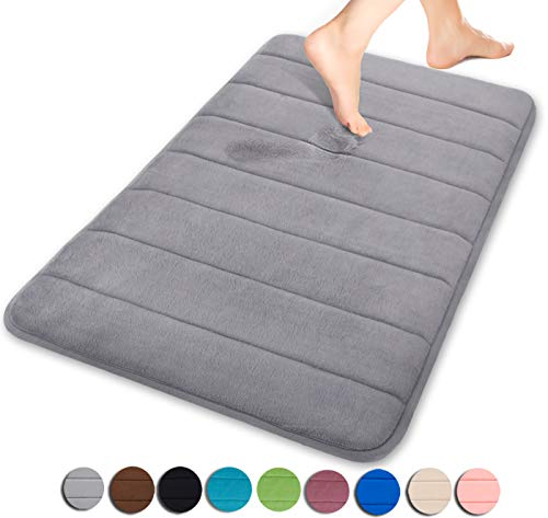Yimobra Memory Foam Bath Mat Large Size 31.5 by 19.8 Inches, Maximum Absorbent, Soft, Comfortable, Non-Slip, Thick, Machine Wash, Easier to Dry for Bathroom Floor Rug, Grey]()