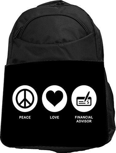 Rikki Knight Ukbk Peace Love Financial Advisor Black Color Tech Backpack   Padded For Laptops   Tablets Ideal For School Or College Bag Backpack