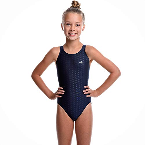 Flow Girls Swimsuit - One Piece Crossback Competitive Swimsuit Youth Sizes 23 to 30 in Black, Navy, and Blue (28, ()