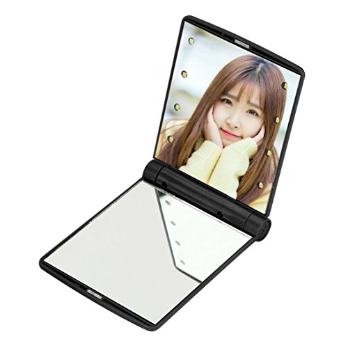 - Gotd Folding Portable 8 LED Lights Lamps Mirror for Makeup Cosmetic (Black)