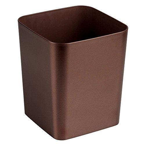 - InterDesign Casilla Square Waste Basket Trash Can for Bathroom, Kitchen, Office, Venetian Bronze