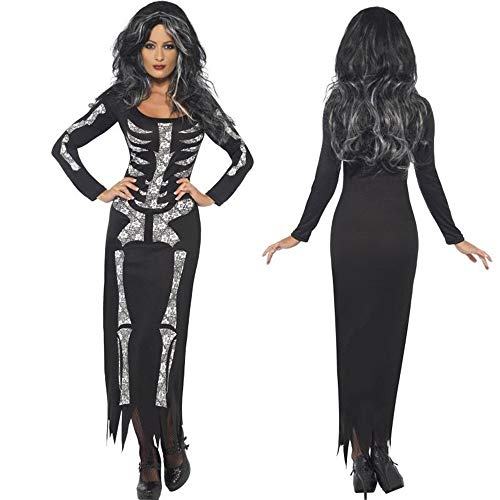 Halloween Costume,Women Ghost Festival Horror Skeleton Holiday Party Club Dress -