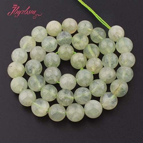 Calvas 4,6,8,10,12mm Smooth Faceted Round Green Prehnites Natural Stone Bead for DIY Necklace Bracelat Jewelry Making 15