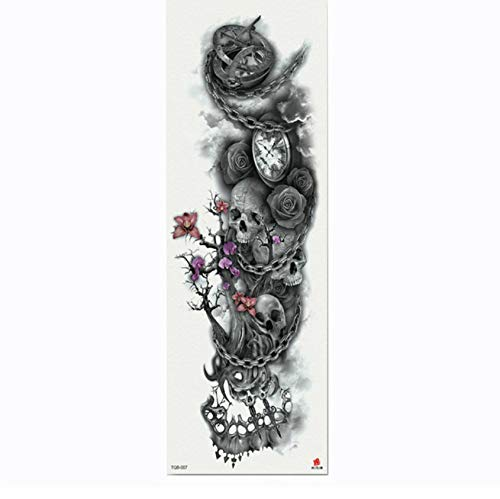 Temporary Tattoos Emoji Full Flower Arm Tattoo Sticker Skeletons And Roses Temporary Body Paint Water Transfer Tattoo Sleeve 4817Cm 2Pc]()