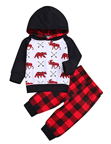 Baby Boy Clothes Bear Deer Printed Long Sleeve Hoodie Tops +Red Plaid Pants Outfit Set (6-12Months)