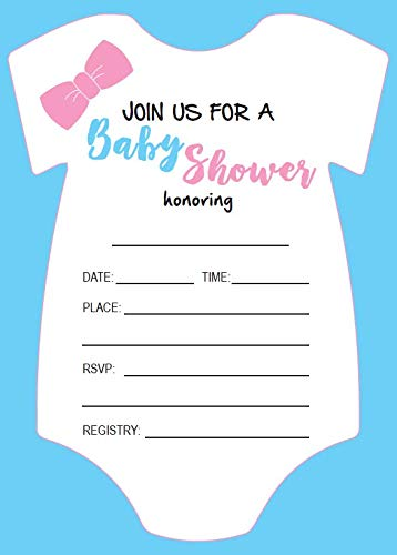 Amazon Com Baby Shower Invitations 25 Count Fill In Pink Blue